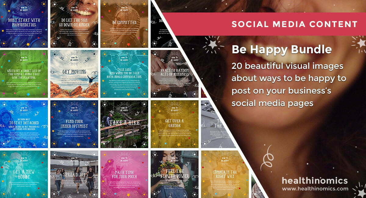 Social Media Images – Be Happy Bundle | Healthinomics.com