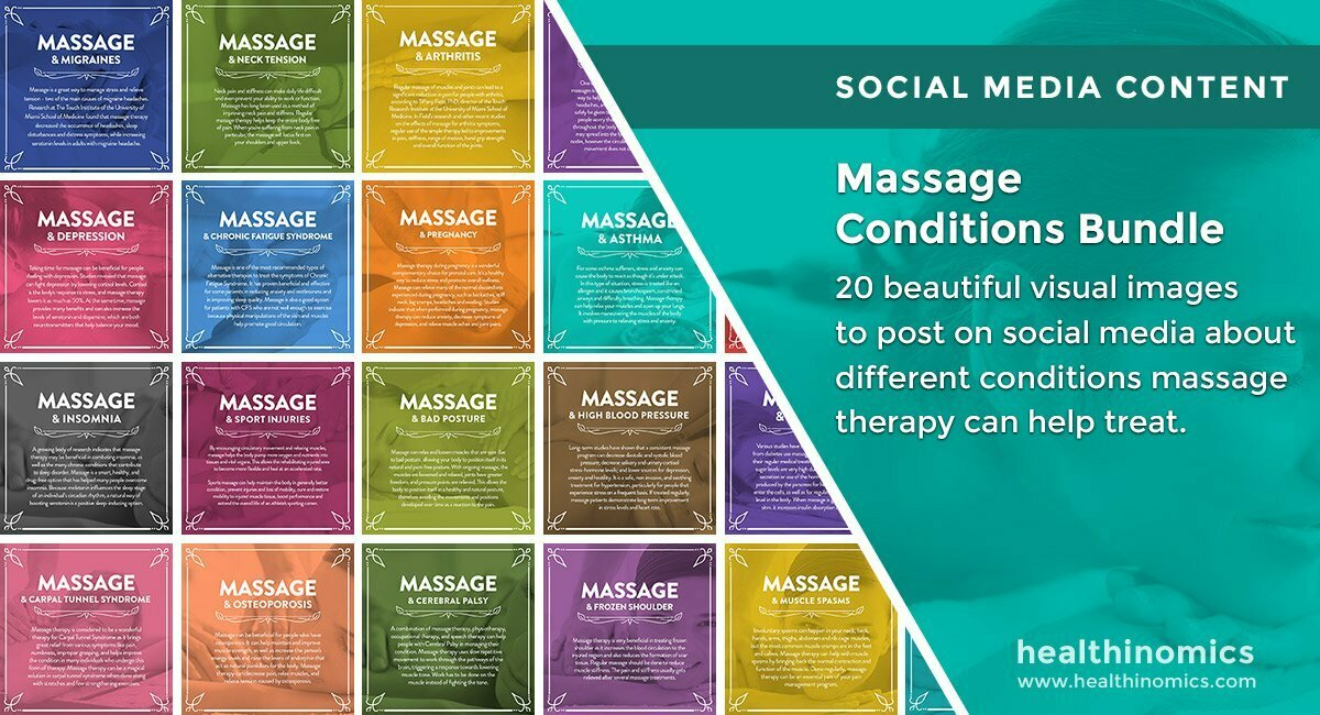 Social Media Images – Massage Conditions Bundle | Healthinomics.com