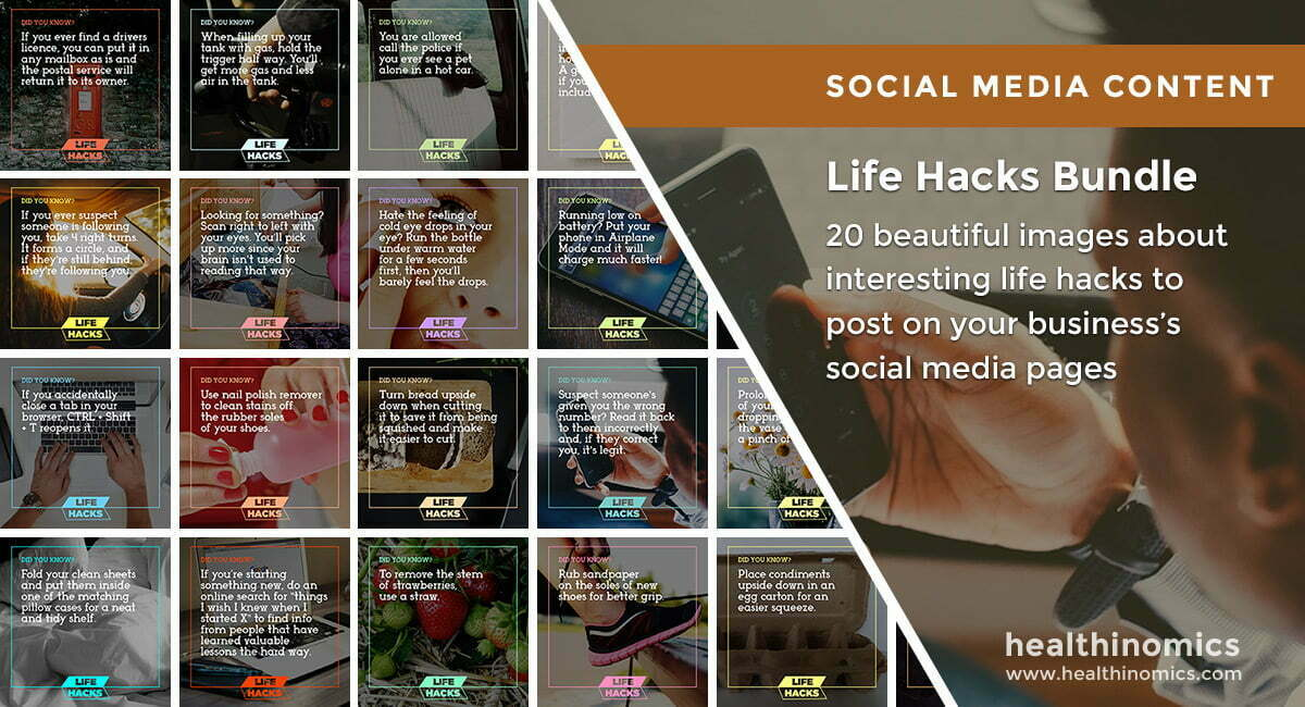 Social Media Images – Life Hacks Bundle | Healthinomics.com